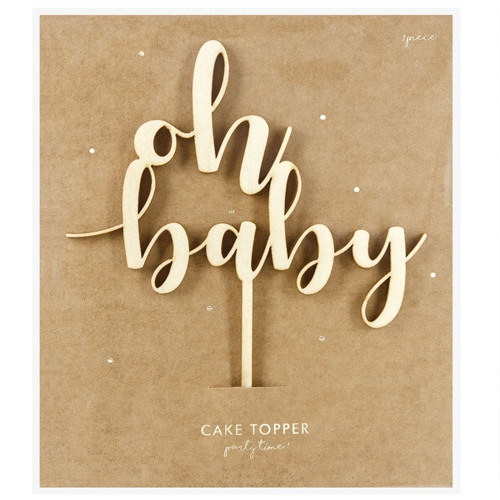 PartyDeco Cake Topper Oh Baby - Holz