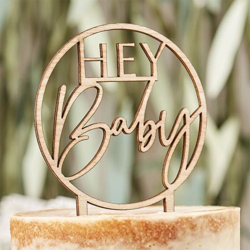 Ginger Ray Cake Topper Hey Baby - Holz