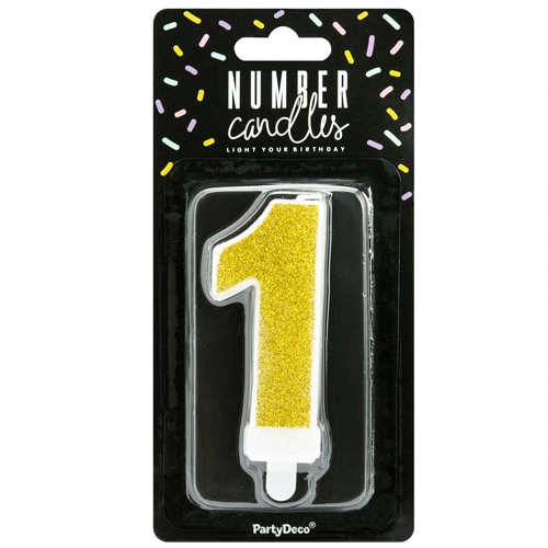 PartyDeco Zahlenkerze Gold - Nummer 1