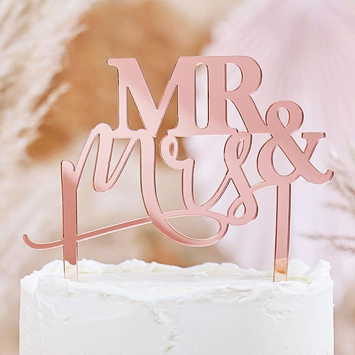 """Ginger Ray Cake Topper """"Mr & Mrs"""" - Rosegold"""