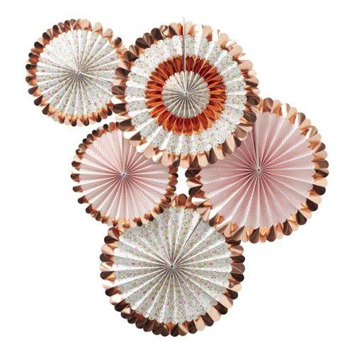Ginger Ray Fächerdekoration - Blumenmuster Rosegold