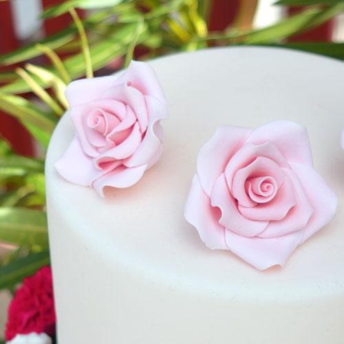 Decora Zuckerrosen 6 Stück 5cm - Rosa