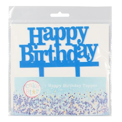 Cake Star Cake Topper - Happy Birthday Blau