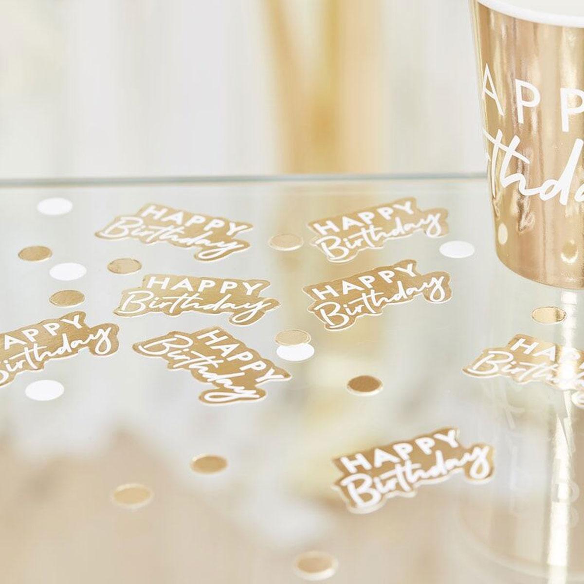 """Ginger Ray Tischkonfetti """"Happy Birthday""""- Gold"""