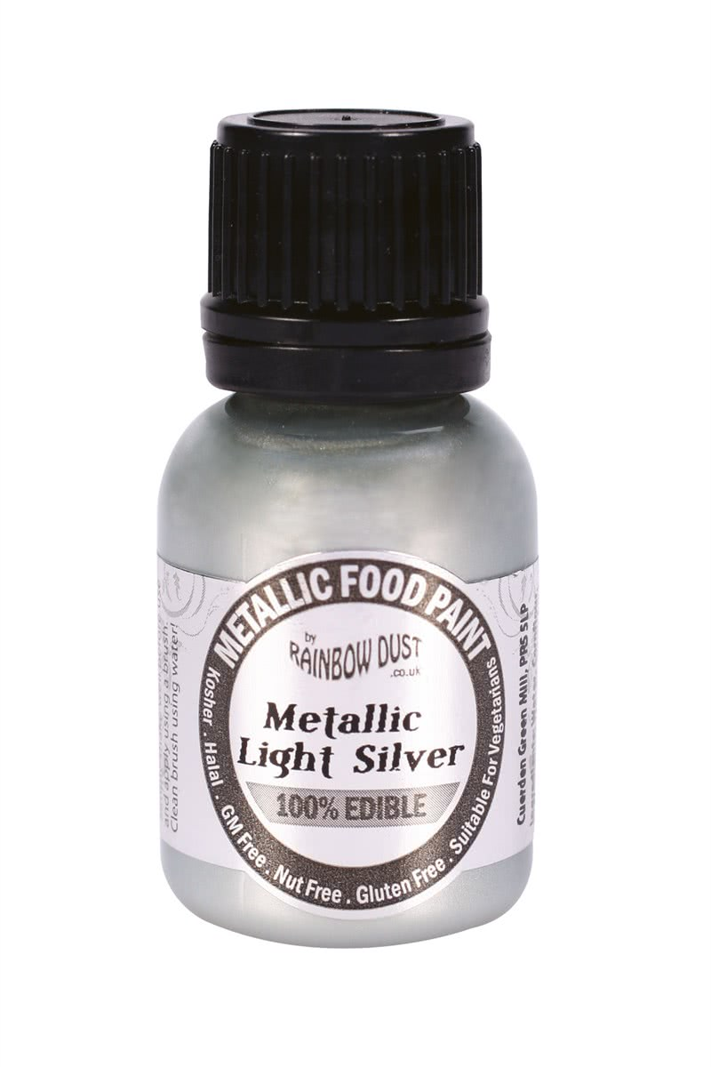 RD Edible Food Paints – Metallic Light Silver