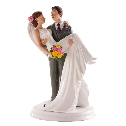 Dekorative Tortenfigur - Braut in den Armen 20cm