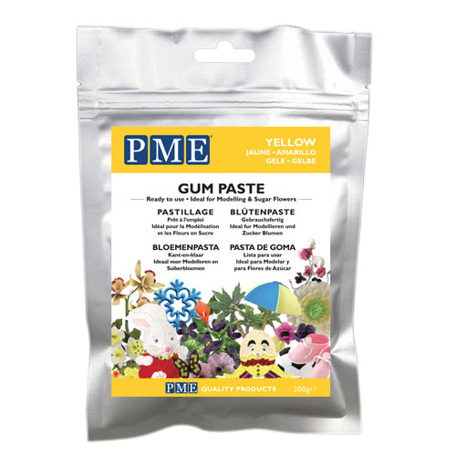 MHD 07/21 PME Gum Paste - Blütenpaste Gelb 200g