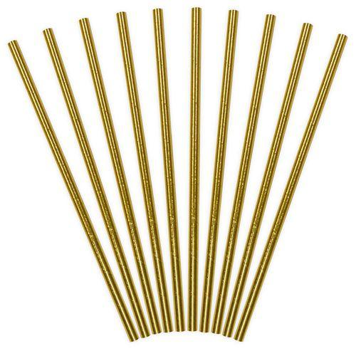 Partydeco Paper Straws - Strohhalm Gold 10 Stück