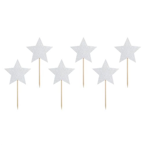 PartyDeco Cupcake Topper Sterne - Silber