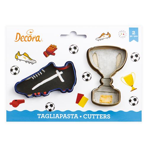 Decora Kunststoff Ausstecher Fußballschuh & Pokal 2tlg