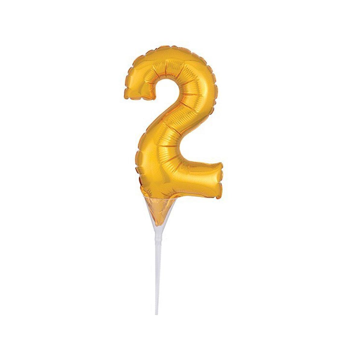 Cake Topper Luftballon Zahlenballon Gold - Zahl 2