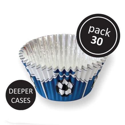 PME Folien-Backförmchen Fußball Blau 30 Stück