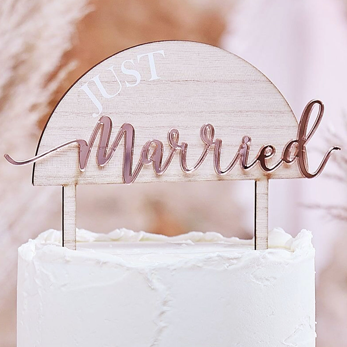 Ginger Ray Cake Topper Acryl/Holz -Just Married Rosegold