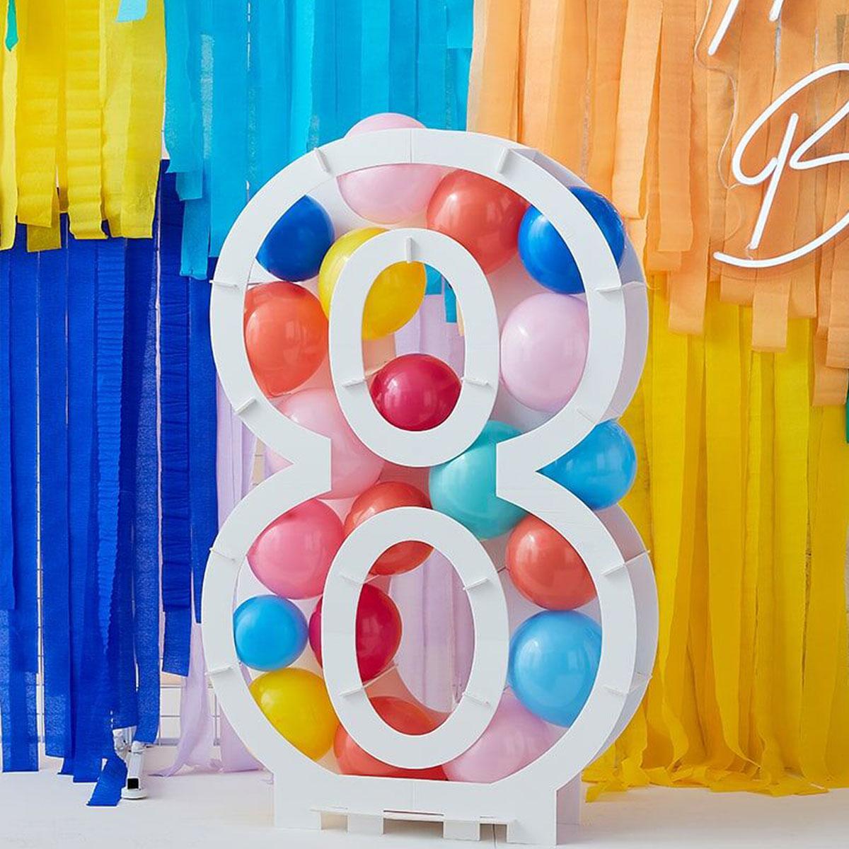 Zahlenständer mit Luftballons Nr.8 - Bunt