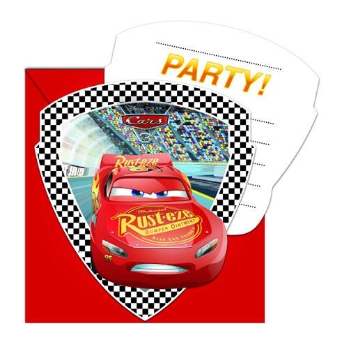 Einladungskarten mit Umschlag - Cars 3