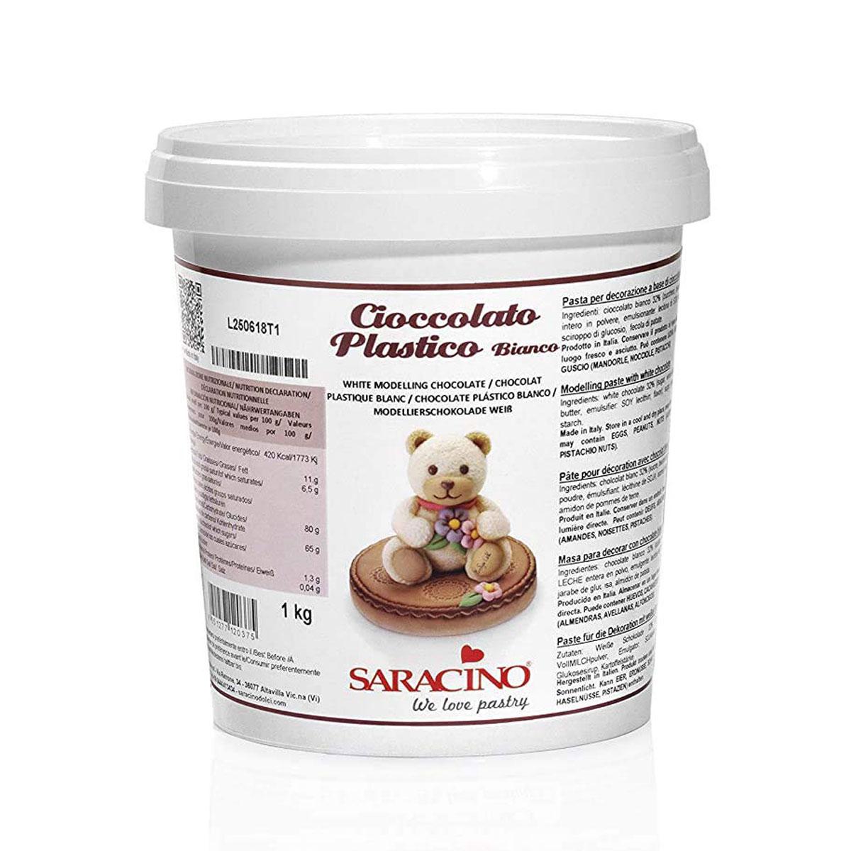 Saracino Cioccolato Plastico - Modellieschokolade Weiss 1 Kg