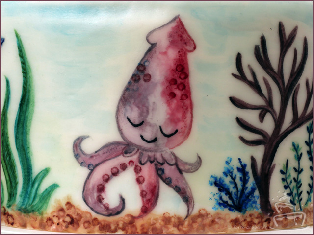 Malen auf Fondant mit PAstenfarbe Meerestiere Krake
