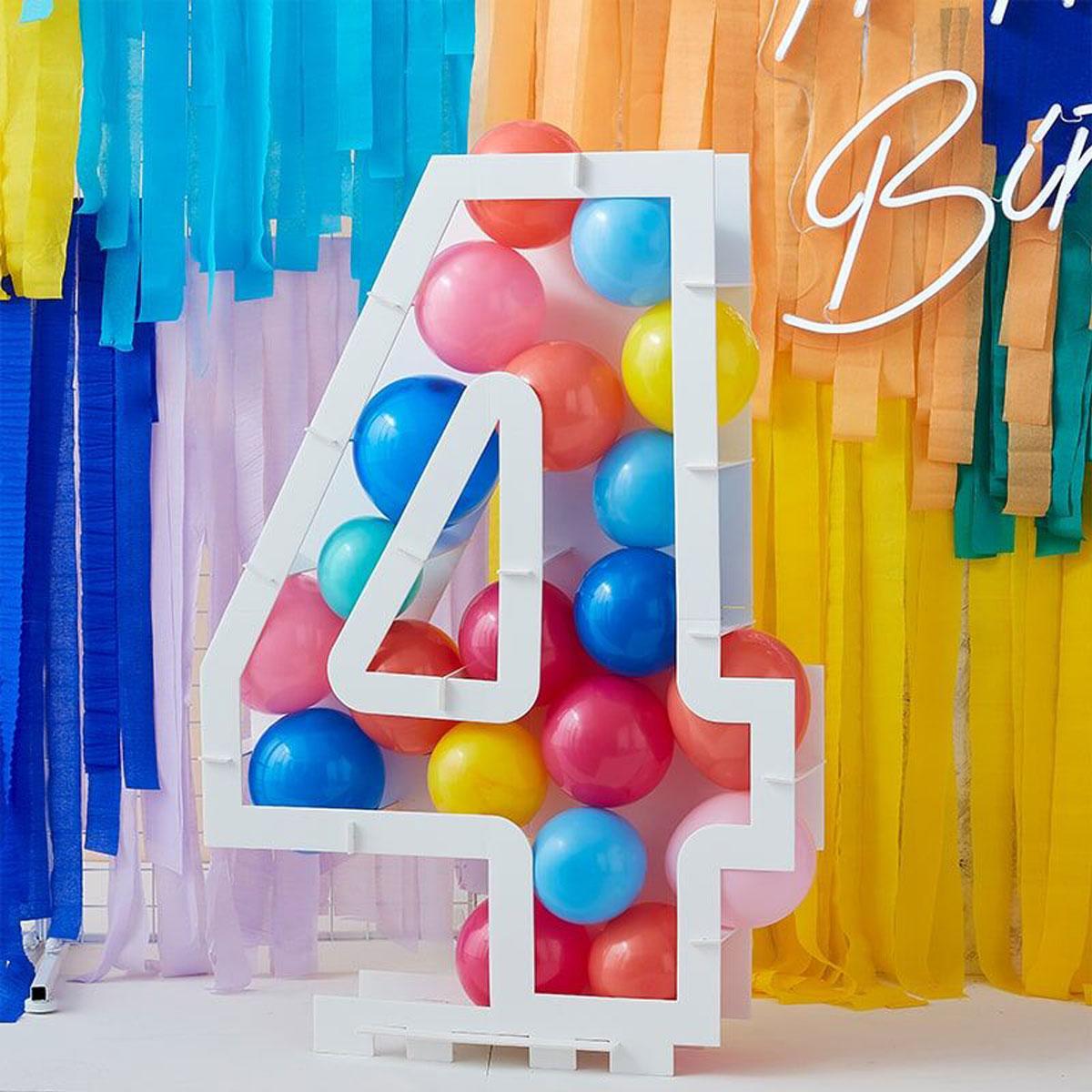 Zahlenständer mit Luftballons Nr.4 - Bunt