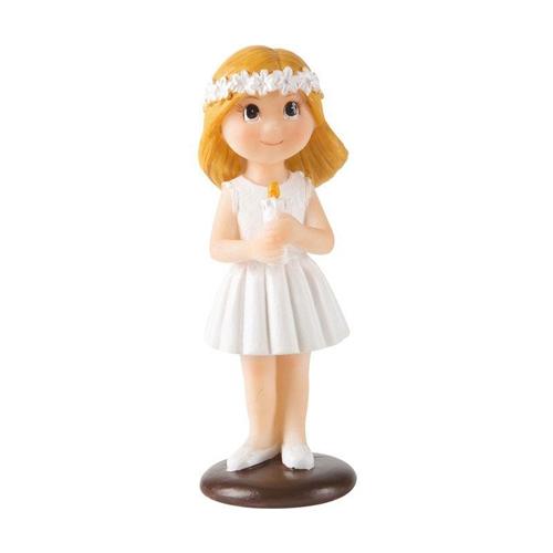 Dekorative Tortenfigur - Kommunion blondes Mädchen mit Blumenkranz