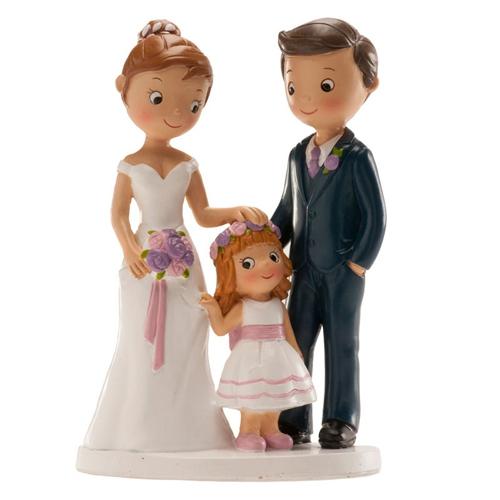 Dekorative Tortenfigur - Familie mit kleinem Mädchen