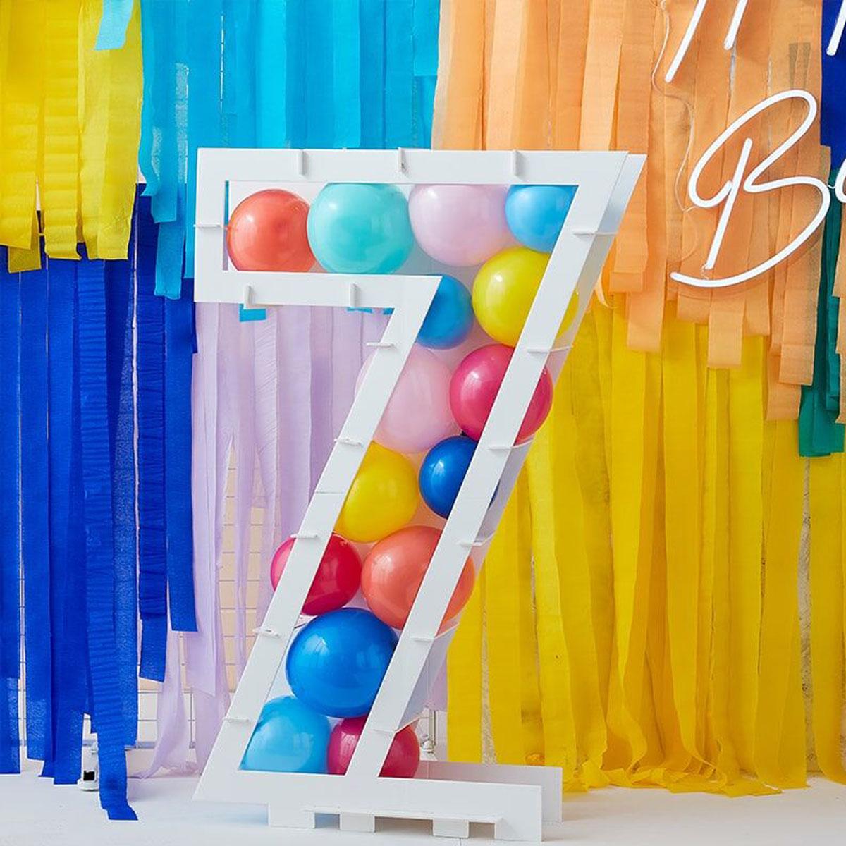 Zahlenständer mit Luftballons Nr.7 - Bunt