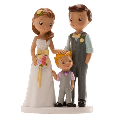 Dekorative Tortenfigur - Familie mit kleinem Jungen