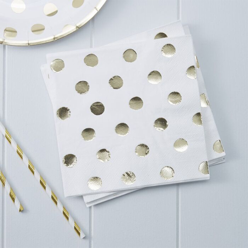 Ginger Ray Servietten - Polka Dots Gold