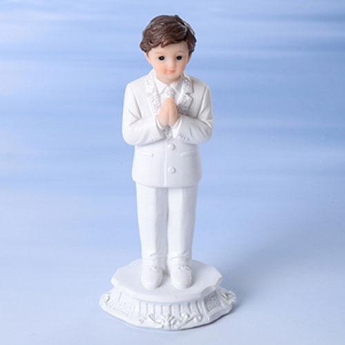 Dekorative Tortenfigur Kommunion - betender Junge in Weiß