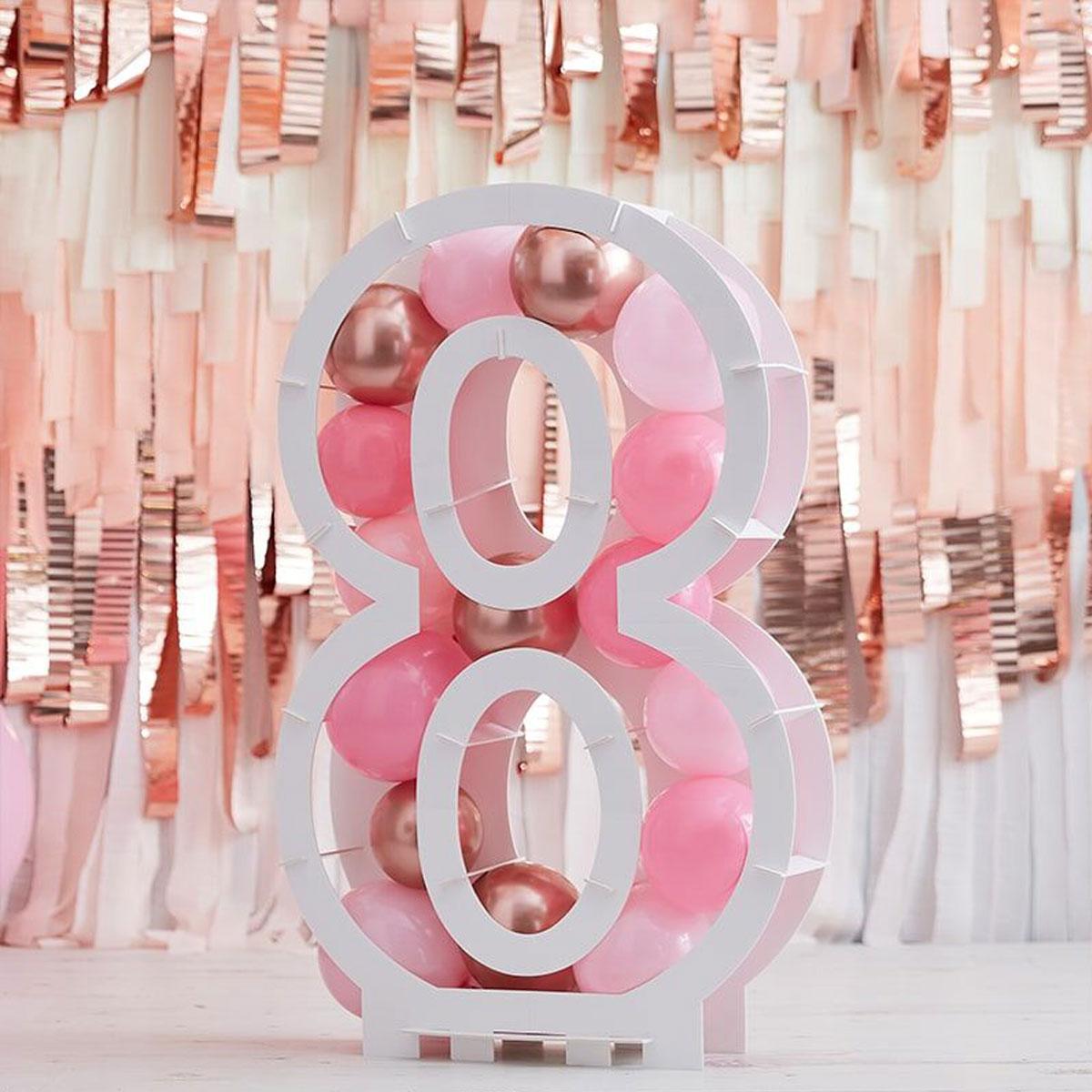 Zahlenständer mit Luftballons Nr.8 - Rose Gold