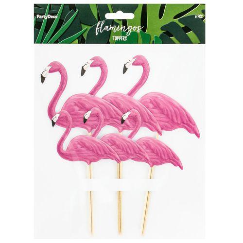 PartyDeco Cake Topper - Flamingo 6 Stück