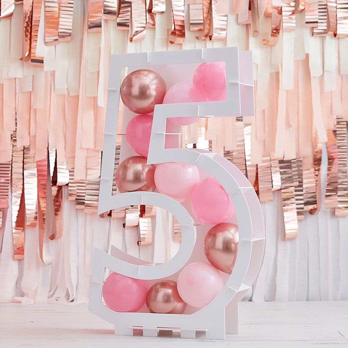 Zahlenständer mit Luftballons Nr.5 - Rose Gold