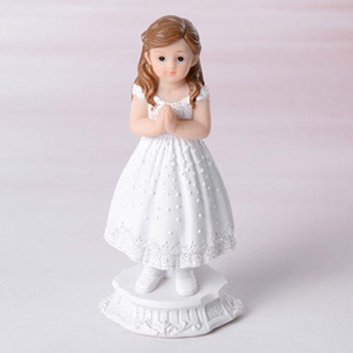 Dekorative Tortenfigur Kommunion - betendes Mädchen in Weiß