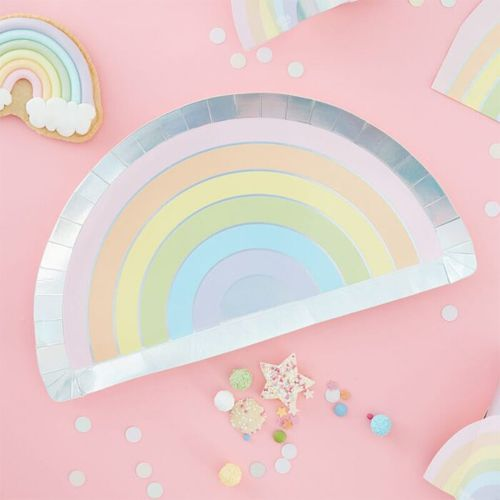 8 Pappteller - Regenbogen schimmernd