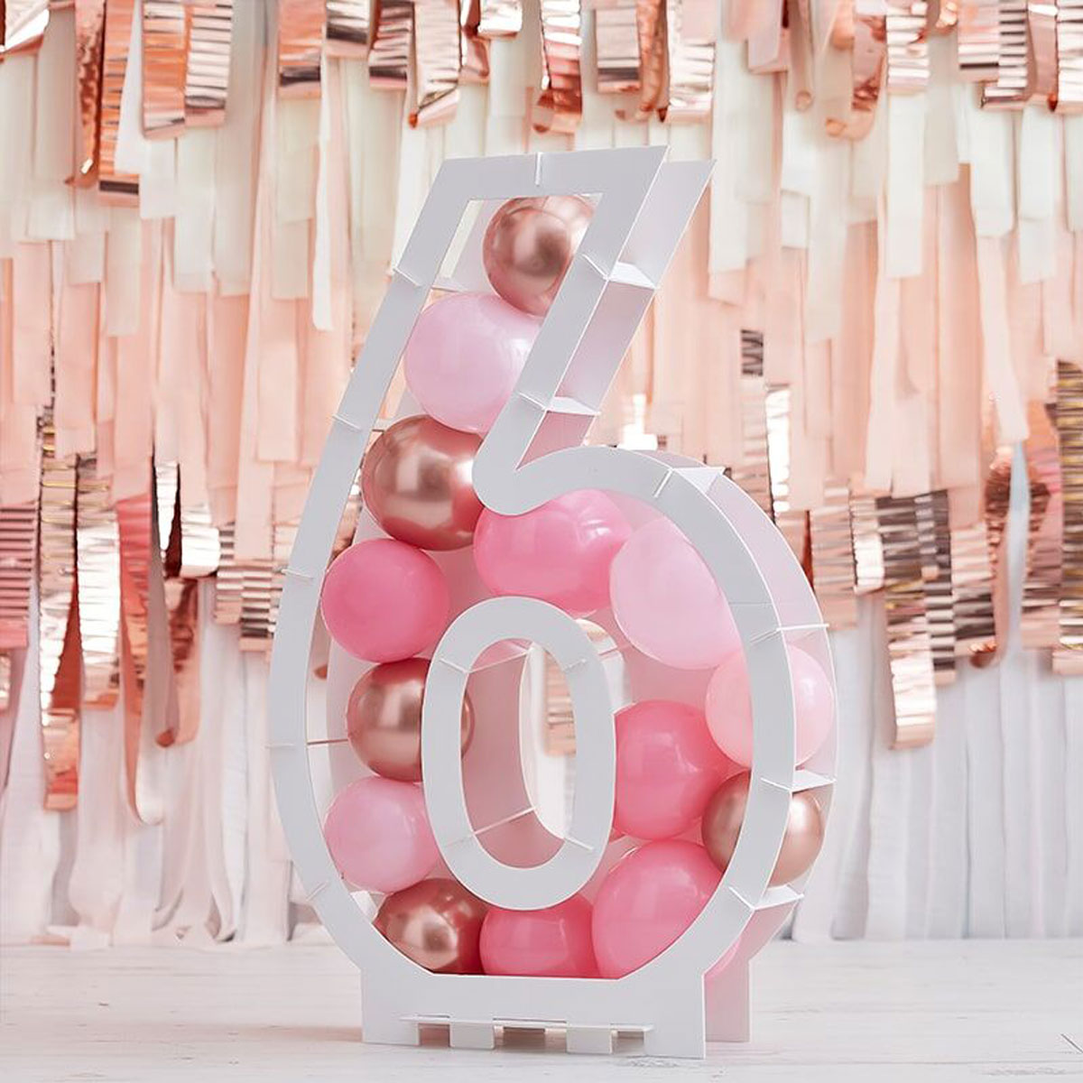Zahlenständer mit Luftballons Nr.6 - Rose Gold