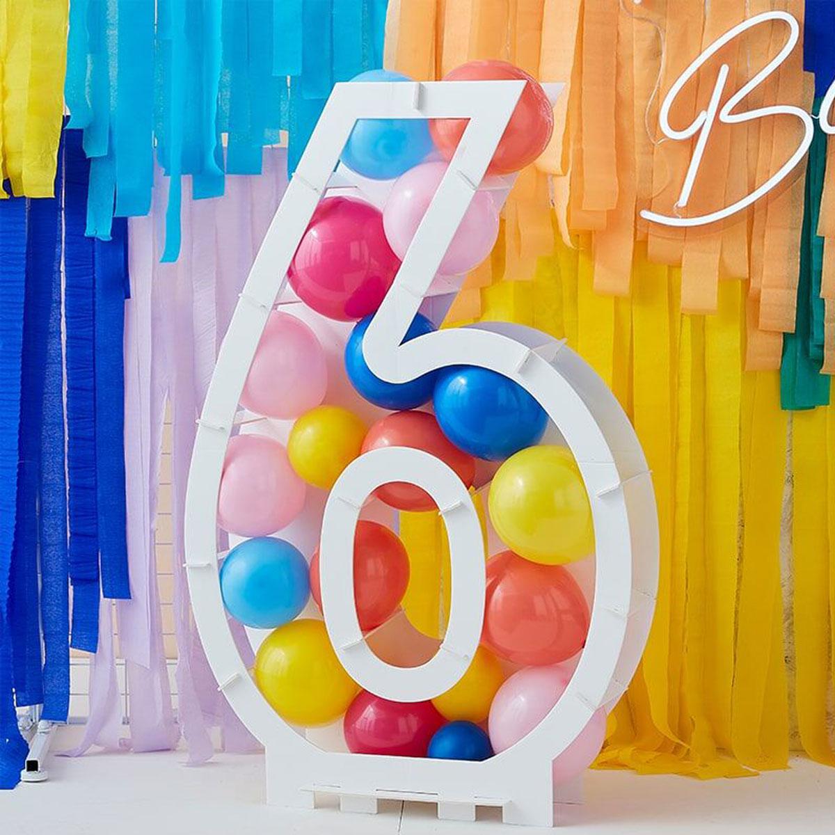 Zahlenständer mit Luftballons Nr.6 - Bunt
