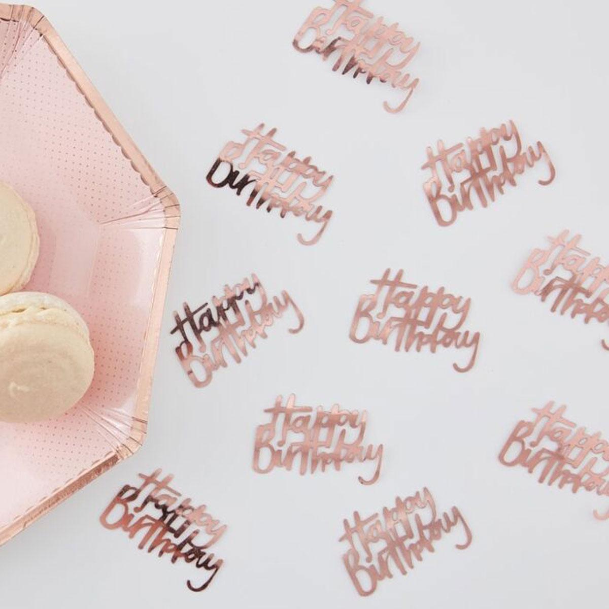 """Ginger Ray Tischkonfetti """"Happy Birthday""""- Rosegold"""