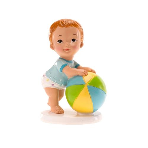 Dekorative Tortenfigur Junge mit Ball - Blau