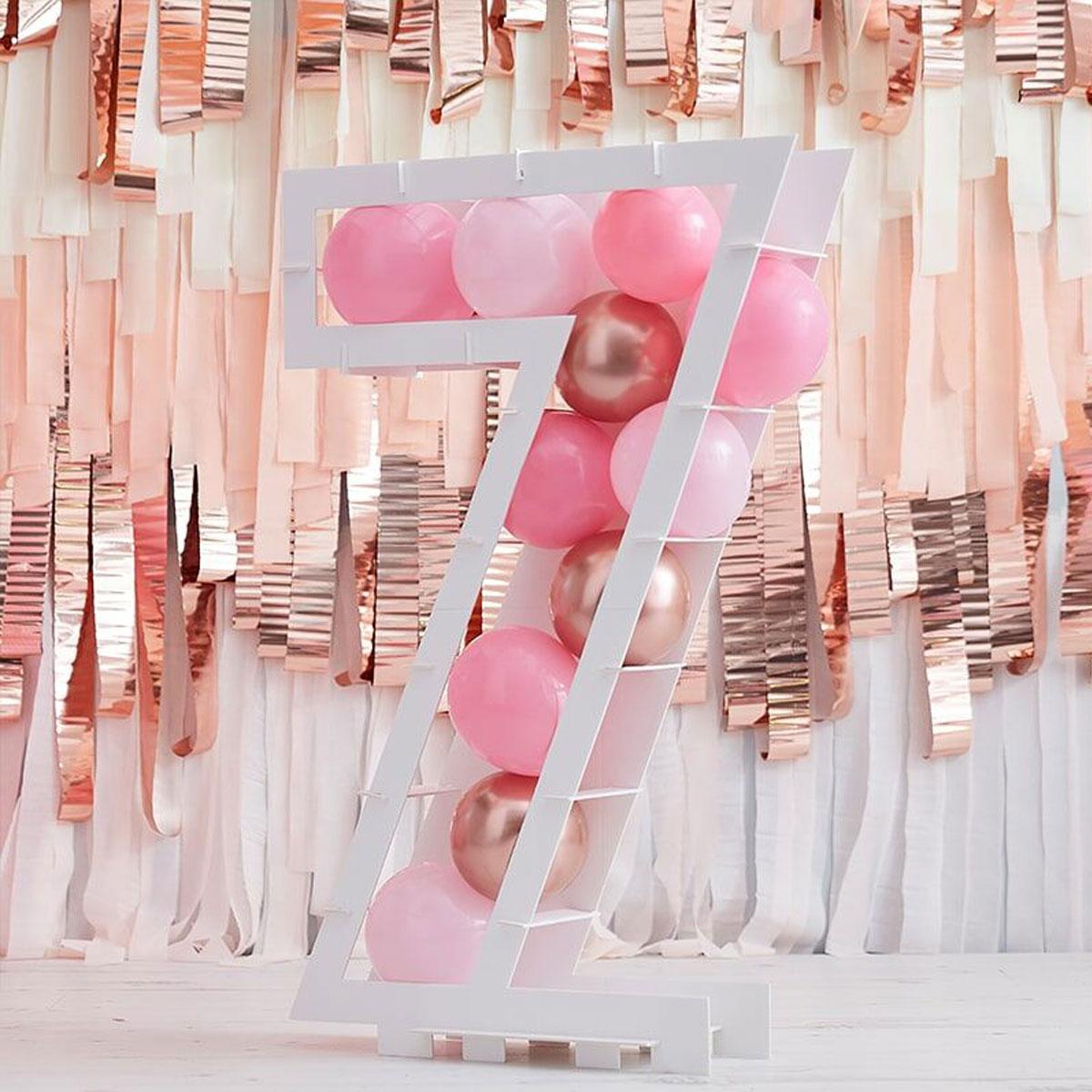 Zahlenständer mit Luftballons Nr.7 - Rose Gold