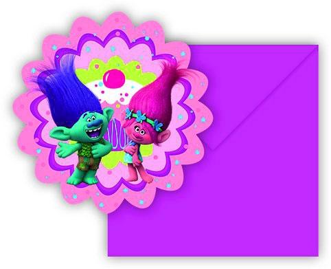 Einladungskarten mit Umschlag - Trolls