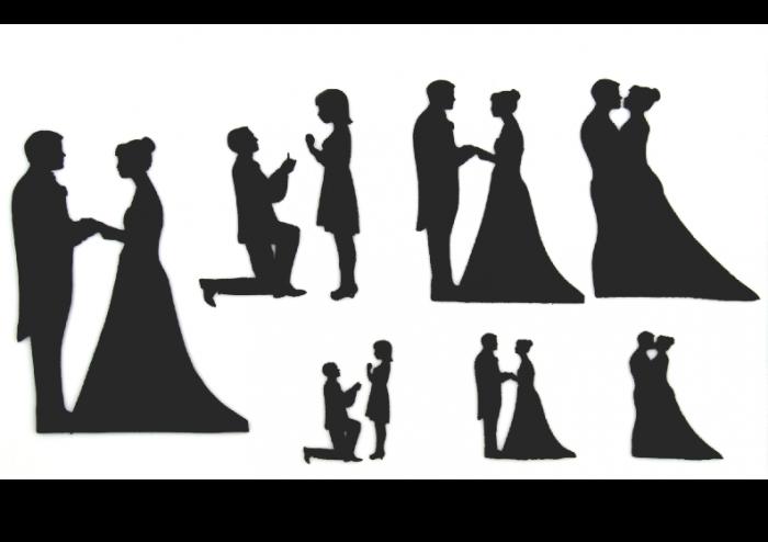 Patchwork Cutter Wedding Silhouette - Brautpaar