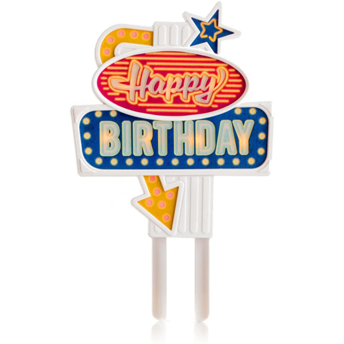 "Blinkender ""Happy Birthday"" Cake Topper mit LED"