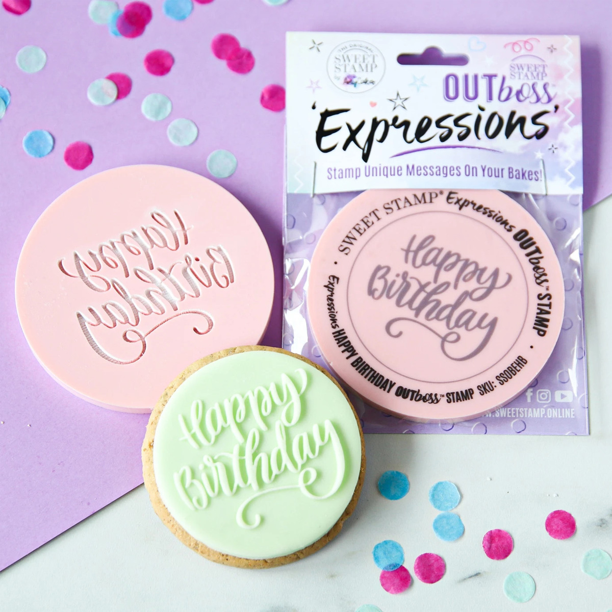 Sweet Stamp OUTboss Expressions - Elegant Happy Birthday