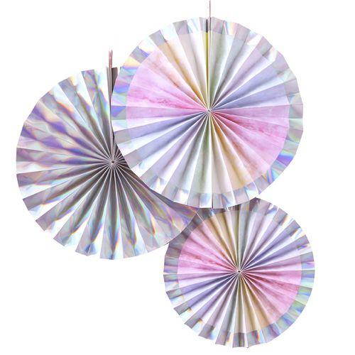 Ginger Ray Fächerdekoration - Papierrosetten Schimmernd