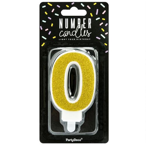 PartyDeco Zahlenkerze Gold - Nummer 0