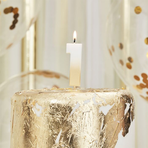 Ginger Ray Gold Ombre Kerze - Zahl 1