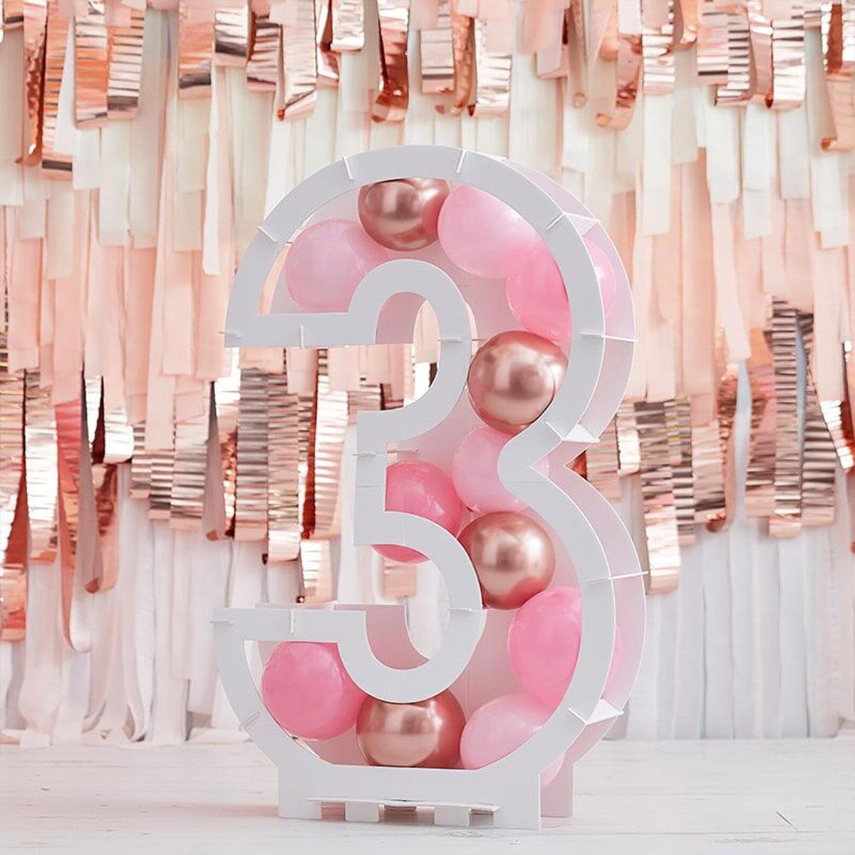 Zahlenständer mit Luftballons Nr.3 - Rose Gold