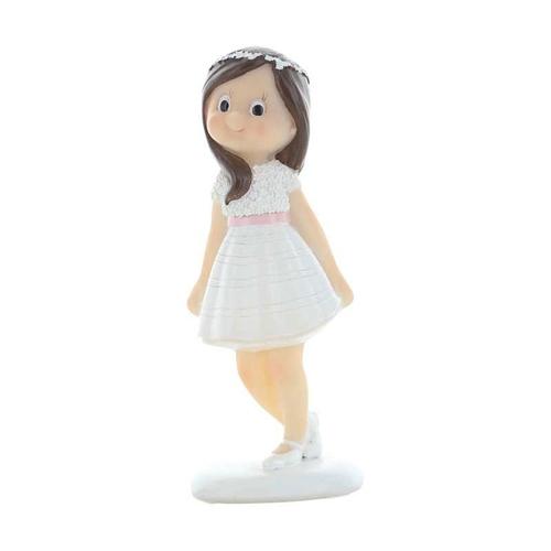 Dekorative Tortenfigur - Kommunion braunhaariges Mädchen