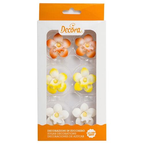Decora Zuckerblumen Orchidee 6 Stück 5cm