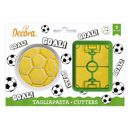 Decora Kunststoff Ausstecher - Fussballfeld & Ball 2tlg