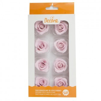 Decora Zuckerrosen 8 Stück 3cm - Rosa